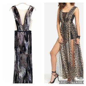 Bebe Leopard Pleated Double Slit Maxi Dress